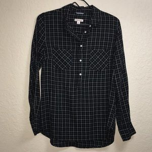 Black Plaid Button Front Shirt